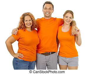 People wearing orange blank shirts