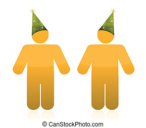 People wearing party hats