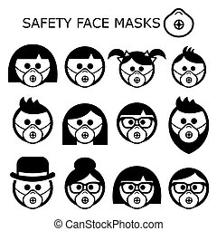 People wearing safety face masks vector icons set - adults, children, seniors, masks worn to prevent disease, virus, air pollution, contaminated air