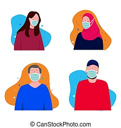 people wearing surgical mask health mask for corona virus ...