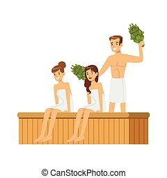 People wearing towels steaming with birch broom in sauna...