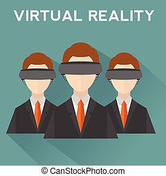 People wearing virtual reality helmet. Conceptual...
