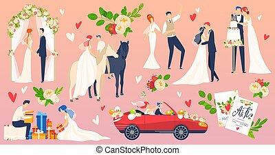 People wedding, marriage vector illustration flat set, cartoon newlyweds character on romantic wedding ceremony scene, honeymoon traveling