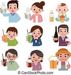 People who drink a drink - Vector illustration.