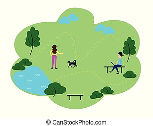 People who enjoy leisure time in the park, flat design style vector graphic illustration set. Public park concept banner with characters. Can use for web banner, infographics, hero images