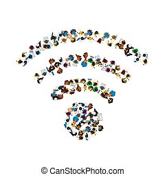 People wifi sign, people wifi network. Vector illustration,
