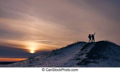 people winter silhouette does selfie photograph joy snow...