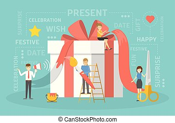 People with a big gift box