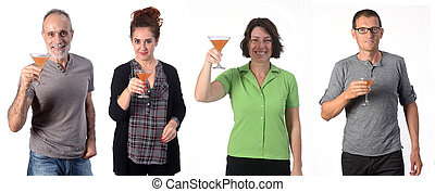 people with a cup of cocktail on white background
