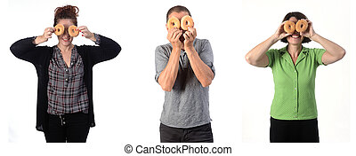 people with a donut on white background