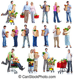 People with a grocery cart. - Group of shopping people with ...