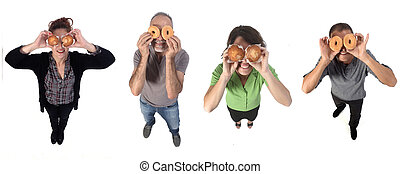 people with a muffin and donut on white background