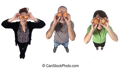 people with a muffin on white background
