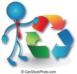 People with a recycling symbol