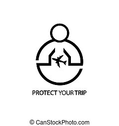 People with airplane icon. Concept of love your trip.