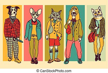 Several people figures with pets faces. Color vector illustration. EPS8
