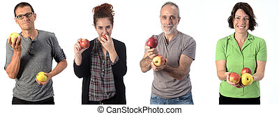 people with apple on white background