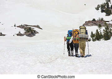 People with backpacks climbing in snow on Mount Shasta, ...