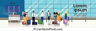 People with Baggage Standing In Line To Counter In Airport For Check In Horizontal Banner