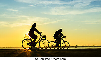 people with bike