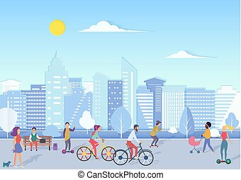 People with bikecycles, hoverboards, babies walking and relaxing in urban city square street with modern city skyline on the background. Trendy flat gradient vector illustration.