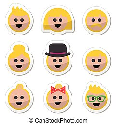 People with blond hair vector icons