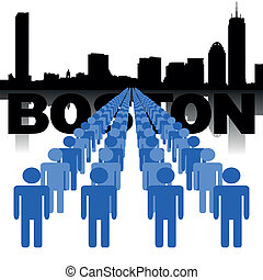 people with Boston skyline