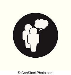 People with bubble icon. Flat vector illustration. People sign symbol with shadow on white background.