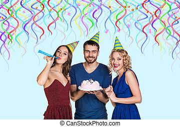 People with cake celebrate happy birthday