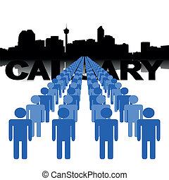 people with Calgary skyline
