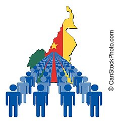 People with Cameroon map flag