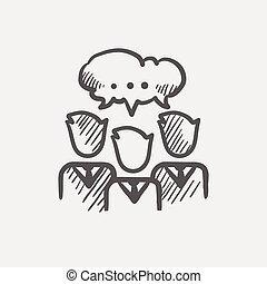 People with chat bubble sketch icon