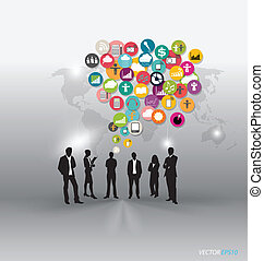 People with cloud of application icons. Vector illustration.