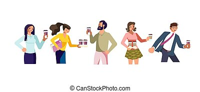 Young people with Cofee to go. A hot beverage Concept for Restaurants and coffee shops. Flat Art Vector illustration