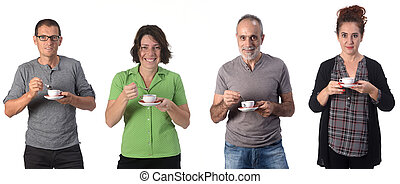 people with coffee cup on white background