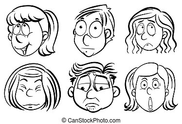 People with different facial expressions