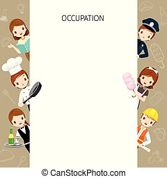 People With Different Occupations Set On Frame