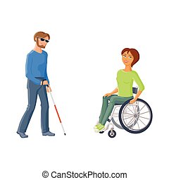 People with disabilities - woman in wheelchair, blind man