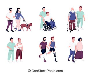 People with disability activities flat color vector faceless characters set. Elderly man on wheelchair. Guy with missing limb running. isolated cartoon illustrations on white background