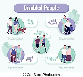 People with disability support flat color vector ...