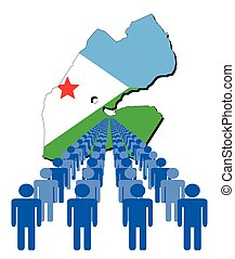 People with Djibouti map flag