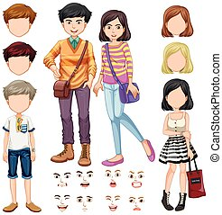 People with facial expression illustration