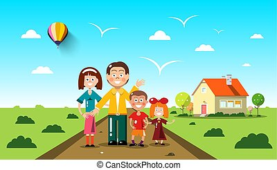 People with Family House on Background. Vector Flat Design Landscape.