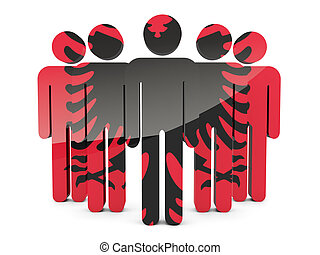 People with flag of albania