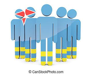 People with flag of aruba