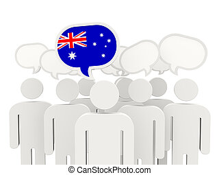 People with flag of australia