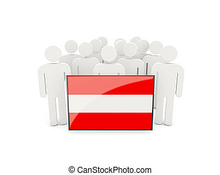 People with flag of austria