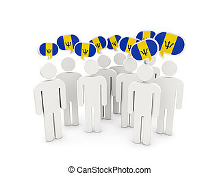 People with flag of barbados