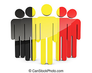 People with flag of belgium