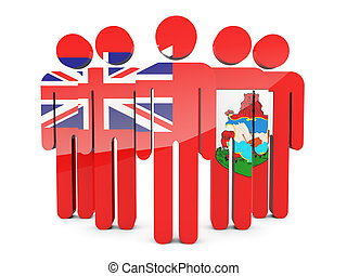 People with flag of bermuda